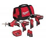 Pack 12 V, 4 produits - perceuse, visseuse à chocs, scie sabre, lampe M12 - M12...