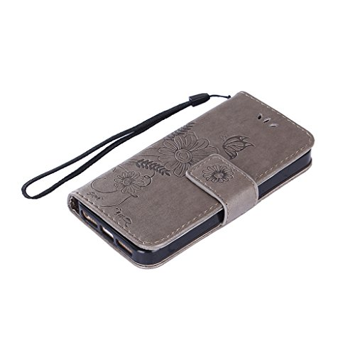 Fodlon® iPhone 5S 5C SE Hülle Solide Mode Ameisen Dating PU Leder Tasche Schutzhülle Case Magnetverschluss Telefon-Kasten Handyhülle Standfunktion -Lila Grau