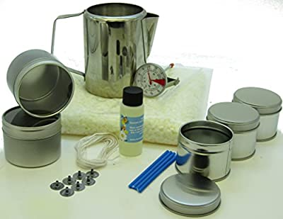 Soy wax candle making kit: 5 tins, fragrance, 500g soy wax, jug & thermometer by Carron Valley Crafts