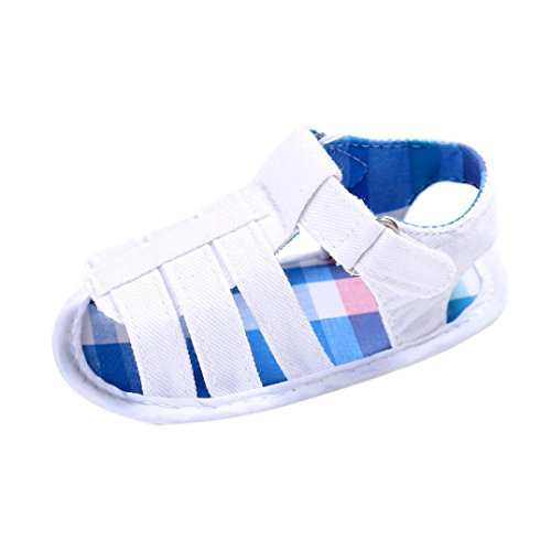 Sandalo bianco in tela, modello step up, con chiusura con velcro laterale, unisex bambino, bambina, neonato, neonata (età: 6 ~ 12 mesi, bianca)
