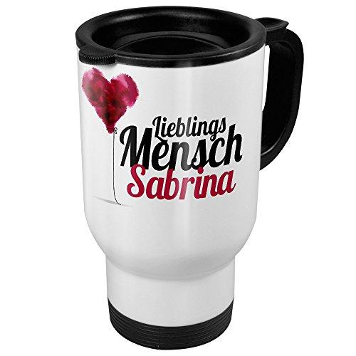 """Thermobecher weiß mit Namen Sabrina - Motiv """"Lieblingsmensch"""" - Coffee To Go Becher, Thermo-Tasse 7"""