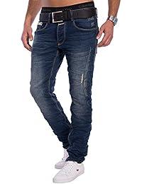 Herren Jeans   Slim Fit · Dunkle Jeanshose · Knitter-Falten · Crinkle ·  Stretch b9f20fb3ec