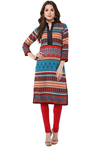 Prabhat Silk Mills Women's Turquoise Printed Kurtis (KR6086-TURQUOISE-S)