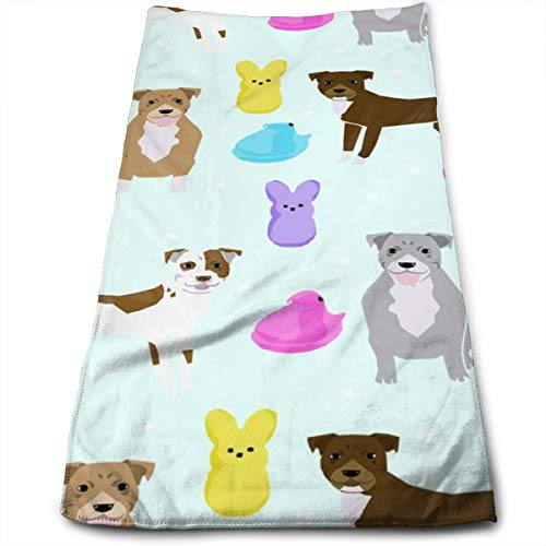 momnn Pitbull Easter Candy Design - Cute Pastel Easter Spring Design with Dogs - Light Mint Hand Towels Dishcloth Floral Linen Hand Towels Super Soft Extra Absorbent for Bath,Spa and Gym 11.8