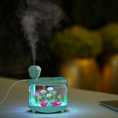 460ml Ultraschall-Luftbefeuchter, Miya USB-Aquarium Luftbefeuchter Aquarium 7 Farben LED-Nachtlicht Aroma Diffuser Nebel-Maker für Home Kids Schlafzimmer Babyroom Office Desk.