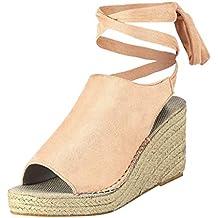 df5026a6148 Sandalias Cuñas con Punta Abierta para Mujer Tacones Altos Sexy 9 Cm  Sandalias de Vestir Zapatos