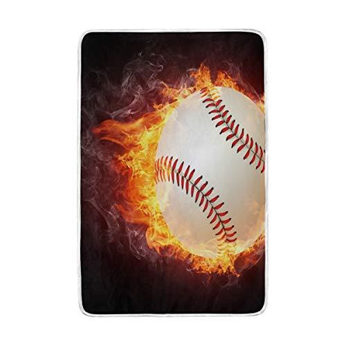 Home Decor Baseball-Decke, umhüllt in Feuer-Flammen, weich, warm, für Bett, Couch und Sofa, leicht, für Reisen, Camping, 152,4 x 228,6 cm, Überwurfgröße für Kinder, Jungen und Frauen Basketball-fleece-sweatshirt