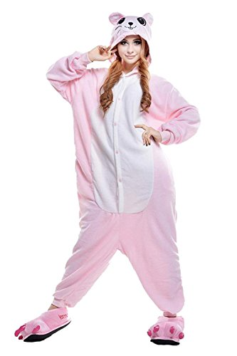 URVIP Jumpsuit Tier Cartoon Fasching Halloween Kostüm Sleepsuit Cosplay Fleece-Overall Pyjama Erwachsene Unisex Schlafanzug Tier Onesie mit Kapuze Rosa Maus Large (Popeye Halloween Kostüme)
