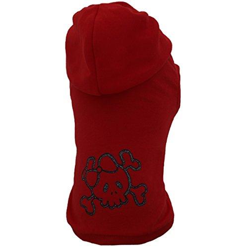 Grande Finale© - T14 - T-Shirt mit Kapuze für kleine & große Hunde • Alle Größe • Die meisten Modischen in dieser Saison • 2017 • Lustiger Schädel • Rot (In Lustigen Kostümen Bulldogs)