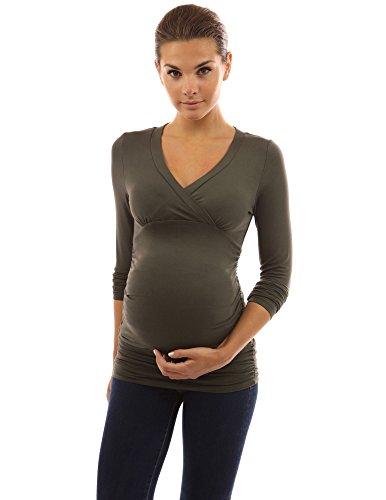 PattyBoutik Mama Tunique de maternité taille empire cou V vert olive foncé