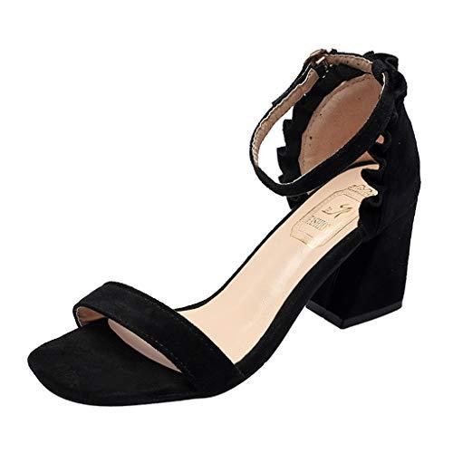 iYmitz Partykleid High Heels Sandalen Ankle Strap Heels Damen Sandalen Offene Zehe Chunky Frauen Sommerschuh(Schwarz,EU-36)
