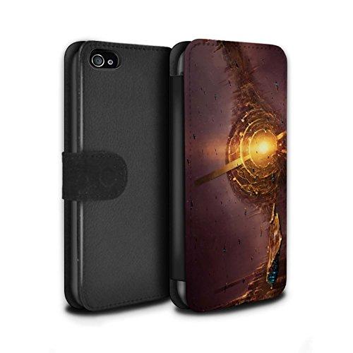Offiziell Chris Cold PU-Leder Hülle/Case/Tasche/Cover für Apple iPhone 4/4S / Exoplanet Muster / Galaktische Welt Kollektion Raumfahrzeug