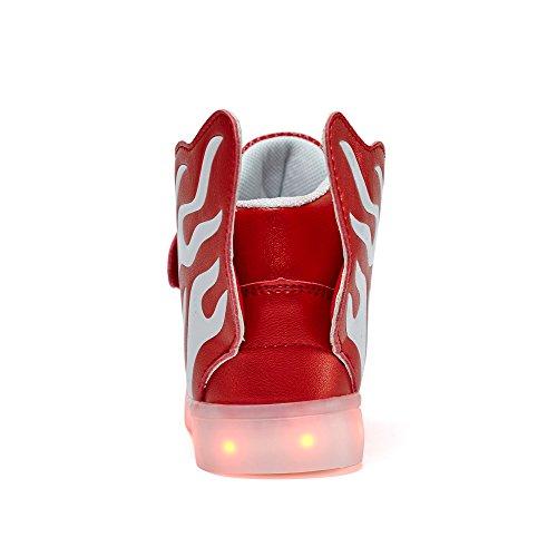 VILOCY Unisex Kinder High-Top LED USB Lade Schuhe Sneaker für Junge Mädchen Rot