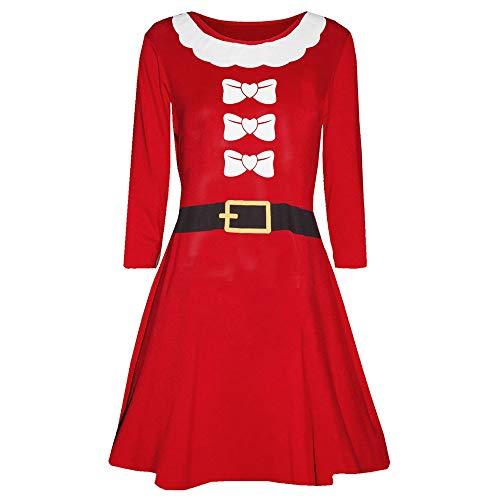 TEBAISE Weihnachten Kleid Damen Santa Rentier Wall Schneeflocken Kostüm Weihnachten Swing Kleid ()