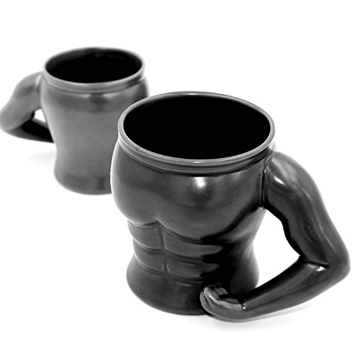 Limited Edition Premium The Muscle Man shaped Mug Black ~ Matte (Pack...