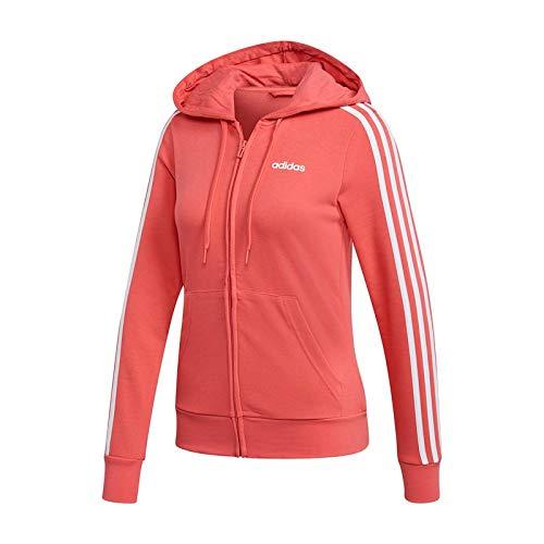 adidas Essentials 3stripes Full Zip Hoodie Hooded Track Top, Damen M Rosa/Weiß (Prism pink/White) -