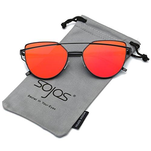 SOJOS Katzenauge Metall Rand Rahmen Damen Frau Mode Sonnenbrille Verspiegelt Linse Women Sunglasses SJ1001 mit Schwarz Rahmen/Rot Linse