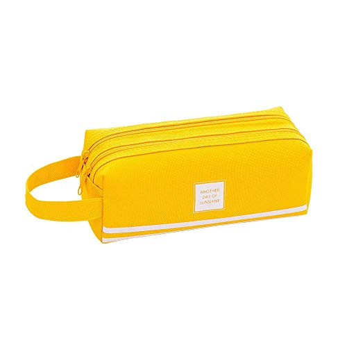Bobopai Creative Pencil Case Students Kids Brief Style Pure Color Large Capacity Pen Pencil Bag Stationery (Yellow)