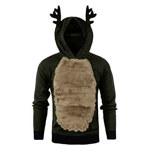 Batnott Herren Weihnachten Shirt Pullover Männer Herbst Winter Hoody Rentier Feather Hooded Christmas Fur 3D Bluse Xmas Party Cosplay Interessant Sweatshirt Oben (Weihnachten Pullover Für Männer)