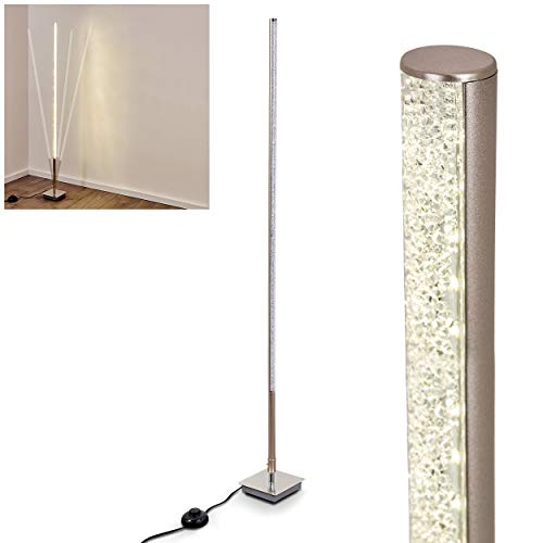 Lámpara de pie LED Strip de metal níquel mate, lámpara de suelo para salón, dormitorio, pasillo. La lámpara es variable.