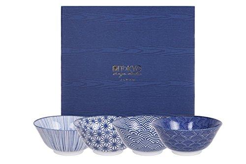 Tokyo Design Studio, Bol en porcelaine motif Nippon Blue - Coffret de 4, Diamètre: 15.2cm
