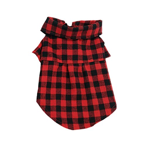 CplaplI Bella Tiere Domestico Kleidung, Pet Dog Gentle Grid Plaid Bluse Bow Tie Decor Kleid rot rot S