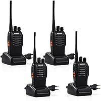 Tyhbelle BF-888S Funkgeräte Set, Walkie Talkie 16 Kanäle 5KM Reichweite eingebauter LED-Taschenlampe 16 Kanäle Sprechfunkgerät mit Headset und Akkus (4er Pack)