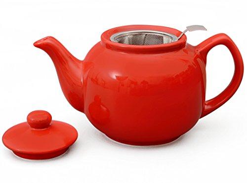 Teeservice / Teeset 3-teilig Malika in rot mit Edelstahlsieb 1,2l - 4
