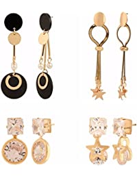 Efulgenz Jewellery Combo Of Stylish Fancy Party Wear Stud Earrings And Dangler Earring For Girls & Women