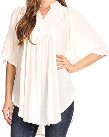 Sakkas - Chemisier - Body chemise - Motifs - Manches Courtes - Femme - blanc - Taille Unique