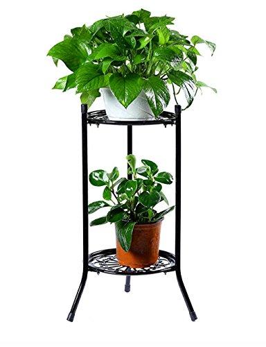 Étagère dans le salon Chambre Cuisine Européenne Simple Fer Flower Pot Shelf Plante Pied Salon Balcon Fleur Rack Fleur Rack de décoration YYJRR-Étagères d'angle (Couleur : Noir, taille : 50 cm)