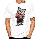 Shirts Herren, GJKK Herren Kurzarmshirt Casual Boxen Katze Gedruckt O-Ausschnitt Tees Shirt Kurzarm T-Shirt Bluse Sommershirt Tops Oberteil (T-Shirt Weiß, L)
