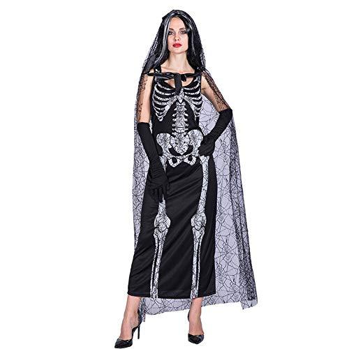 YouN Halloween Ghost Bride Maxi Dress Skull Print Mesh Hooded Party Cape Cloaks (Halloween Bride Ghost)