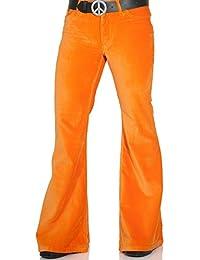 Orange Herren Samthose mit 70er Jahre Schlag
