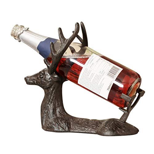 Gusseisen außergewöhnliche Rustikal freistehend Hirsch Wein Rack Flasche Aufbewahrung Halter - Wein Rack Französisch