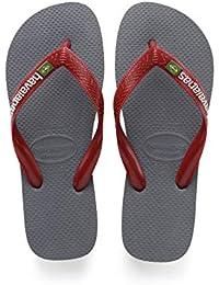 Havaianas Brasil Logo 4110850, Infradito Unisex Adulto, Grigio (Steel Grey/Red), 35/36 EU