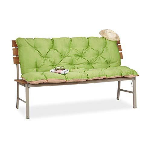 Relaxdays Cojín para Banco de Exterior con Respaldo XXL, Algodón-Poliéster, Verde, 96x142x8 cm
