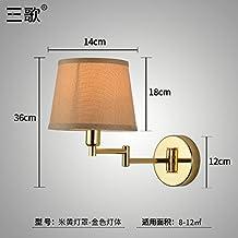 Lilamins Camera da letto,soggiorno,Studyroom testata del letto Lampada da parete con una parete girevole Lampthatgolden giallo luce coperchio (M)