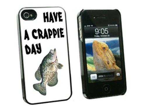 Haben eine Crappie Tag–Fisch Angeln Schlechte–Snap on Hard Schutzhülle für Apple iPhone 44S–Schwarz (Fische Crappie Schwarz)