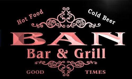 u02149-r BAN Family Name Bar & Grill Cold Beer Neon Light Sign Barlicht Neonlicht Lichtwerbung