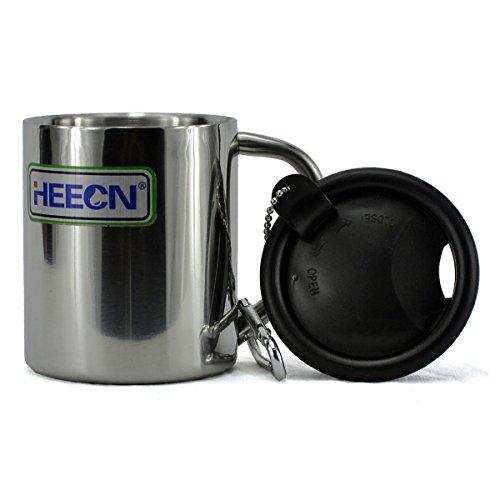 Heecn Camping-Becher/Tasse mit Deckel,220ml,doppelwandig,Edelstahl, rose