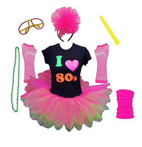 Honey B's I Love The 80s Ladies Costume with T-shirt, Tutu, Legwarmers, Fishnet Gloves, Headband, Glow Stick, Beads Necklace