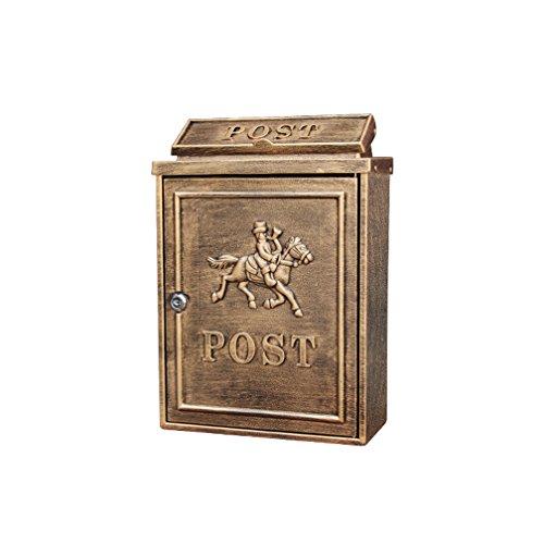 MXD Briefkasten europäischen Briefkasten im Freien wasserdichte Villa Postfach Wand mit Schloss Postbox Garten kreative Briefkasten Antik Kupfer Mann zu Pferd Muster -