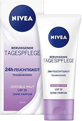 NIVEA Essentials Tagespflege 24h Feuchtigkeit + Sensitiv im 1er Pack (1 x 50 ml), Feuchtigkeitscreme mit LSF 15, schützende Tagescreme für sensible Haut -
