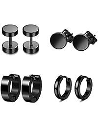 Men's 4 Pairs Black Ear Clip Hoop Earrings Tunnel Stainless Steel Men's Hoop Earrings Huggie Piercing Ear