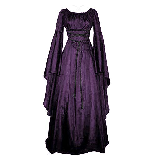 Damen Langarm Mittelalter Kleid Gothic Retro Kleid Renaissance Cosplay Kostüm Prinzessin Kleid Lange Abendkleid Gebunden Taille Maxikleid Übergröße Kleid Weihnachts Karneval Party (2XL, C-Lila)