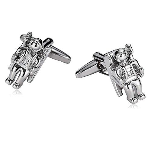 amdxd Jewelry Edelstahl Manschettenknöpfe für Herren Astronaut Spaceman Silber 1,8x (Spaceman Anzug)