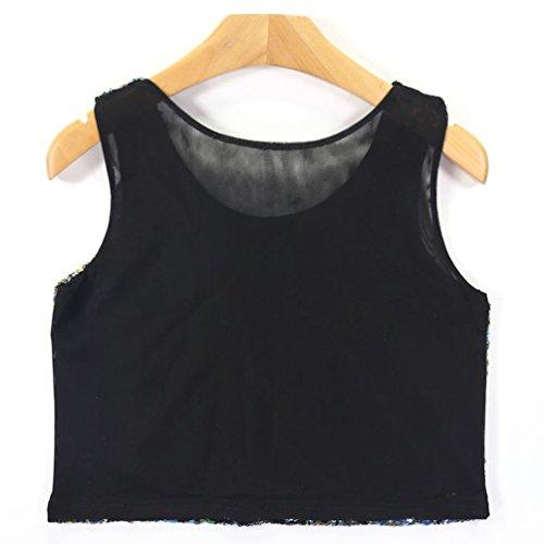 WanYang Femmes Miroiter Paillettes Casual Débardeur Sans Manches T-shirt Gilet Tops Or