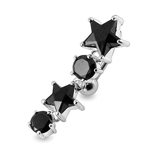 Bijou de Corps Anneau de nombril en argent en forme d'étoiles mobiles avec pierre Black