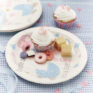 De baptême ou fête de Baby Shower Lot de 8 assiettes en carton de 23 cm de diamètre-Party Perfect vaisselle